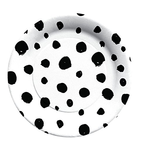C.R. Gibson Blank and White Polka Dot Decorative Disposable Paper Plates, 8 ct. 7.75'' D (Decorative Plates Black White)