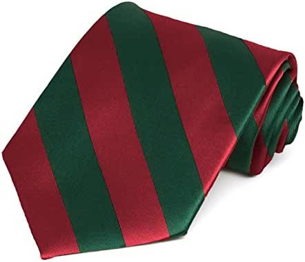 Crimson Red and Hunter Green Striped Tie