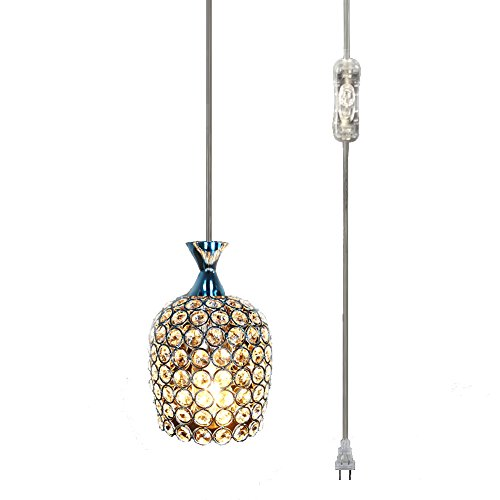 (Hsyile KU300177 Plug in Pendant Light,Caged Crystal Shade,On/Off Switch in Line, E26/E27 Socket,1-Light,Chrome Finish)