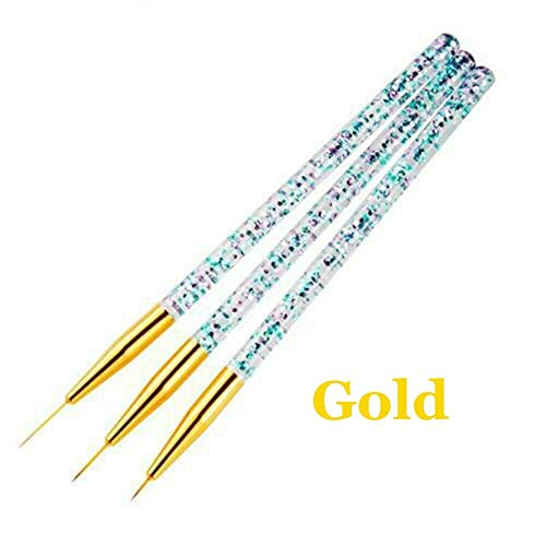Handle Manicure Painting Tool Nail Brush Nail Liner Pen Drawing Wire Kit (Color - gold) ()