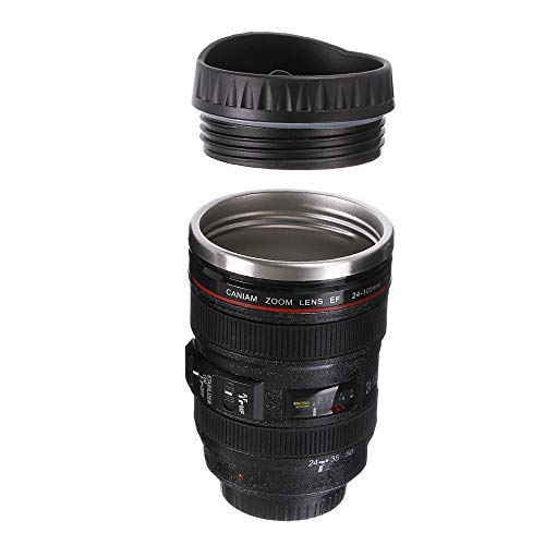 Free Walker - Camera Lens Drinking Cup with Stainless Steel Leak-Proof Lid,Creative Design Travel Mug Thermos,Safe to Use for Drinking Coffee,Tea,Water (Black)