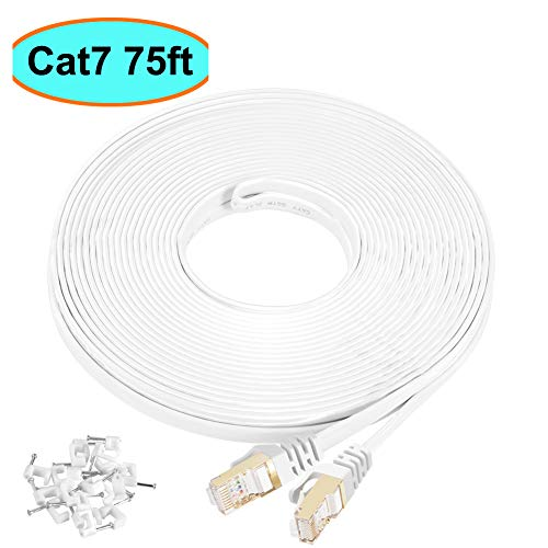 Cat7 Ethernet Cable 75 ft Shielded (STP), AULLOV High Speed Flat RJ45 Cat-7/Category 7 Internet LAN Computer Patch Cord Cable, Faster Than Cat5/Cat6-75 Feet White (22.9 Meters)