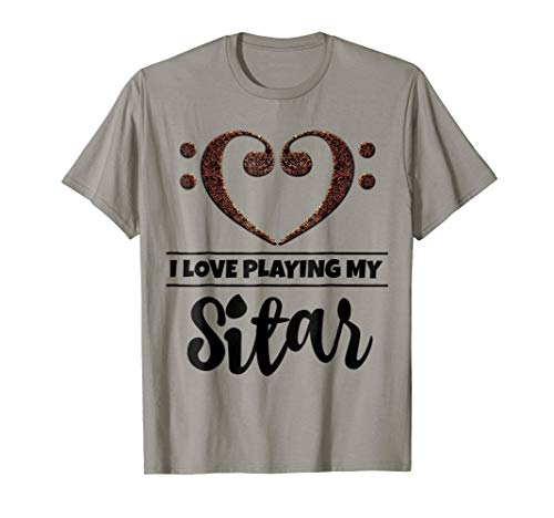 Double Bass Clef Heart I Love Playing My Sitar Music Lover T-Shirt