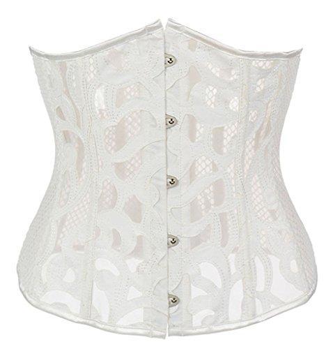 - Alivila.Y Fashion Womens Sexy Fishnet Underbust Shaper Corset 21683-White-L