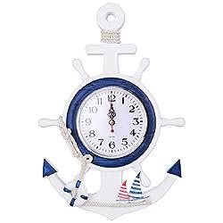 Vafany Wall Clock Mediterranean Style Anchor Clock Beach Sea Theme Nautical Ship Wheel Rudder Steering Wheel Decor Wall Hanging Decoration
