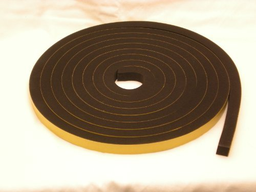 Rubber-Stuff Neoprene Rubber Self Adhesive Strip 25MM Wide X 20MM Thick X 2M Long (Black With Yellow Backing Tape)