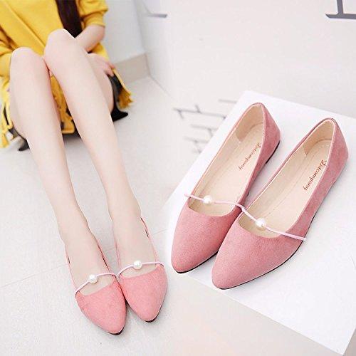 Xue Qiqi Fondo Plano Soja Zapatos de Raso Bordado Elegante Punta Singles Femeninos Zapatos Casual de Estudiante Solo Zapatos Zapatos de Mujer Rosa es un número demasiado pequeño