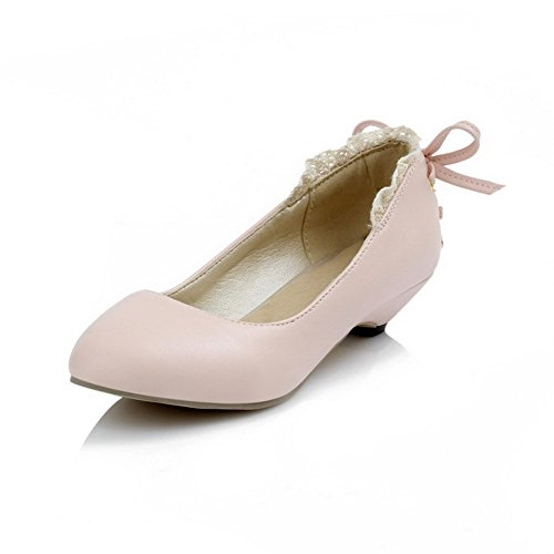 Material WeenFashion Shoes Pink Women's Closed Pumps Pull On Soft Round Toe Low Heels Solid qS0AWqH