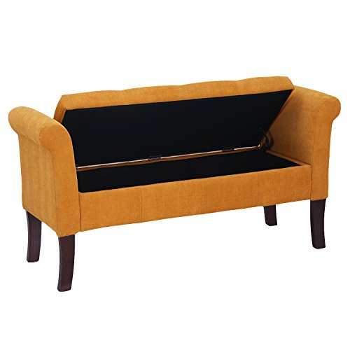 Adeco Eruo Style Fabric Arm Bench Ottoman Chair Footstool, Wood Legs, Lid Storage, Yellow