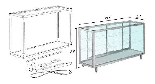 Satin Anodized 6' Deluxe Packaged Showcase Assembly by CR Laurence