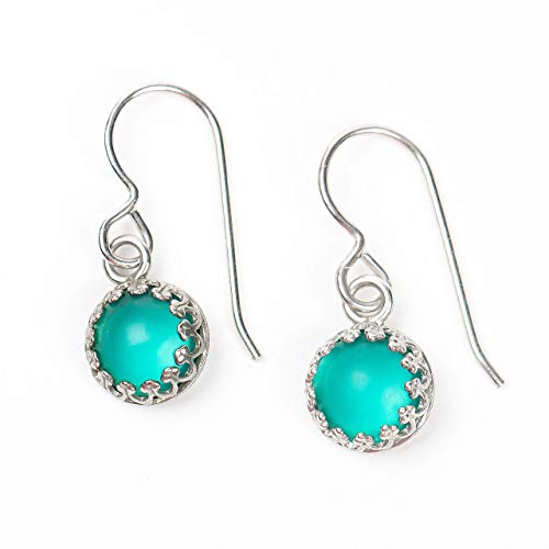 Aqua Teal Blue Recycled Glass Dangle Drop Earrings in Sterling Silver ()