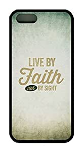 Inspired Quote Live By Faith Not By Sight Theme Case for IPhone 4 4S Rubber Material Black by icecream design