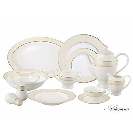 Lorren Home Trends La Luna Bone China 57-Piece Beige Border with 24K Gold Trim  sc 1 st  Amazon.com & Amazon.com | Lorren Home Trends La Luna Bone China 57-Piece Beige ...