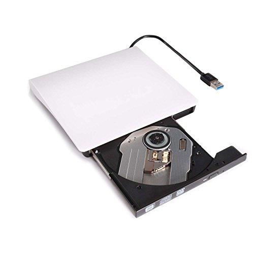 Lvaen External DVD Drive, USB 3.0 Slim Portable CD/DVD-RW Combo Burner Writer Player Optical Drive for Apple Macbook, Macbook Air, Laptops, Desktops (White)