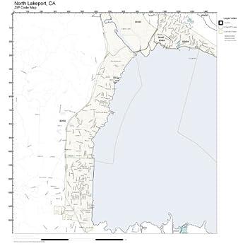 Amazon Com Zip Code Wall Map Of North Lakeport Ca Zip Code Map