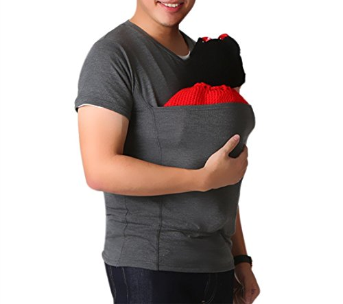 Soothe Shirts, Kangaroo Care Soothing and Breastfeeding Baby Carrier Wrap Top, Hands Free Skin-to-Skin Kangaroo Care Shirts (XXL, Gray Shirt)