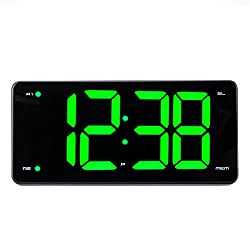 "DGHunter Ultra-Large Alarm Clock Radio, Digital Clock with Mirror Surface Design, 9.5"" LED Display, Stepless Dimmer, FM Radio, Dual Alarm, Snooze Function, Sleep Timer & Battery Backup"