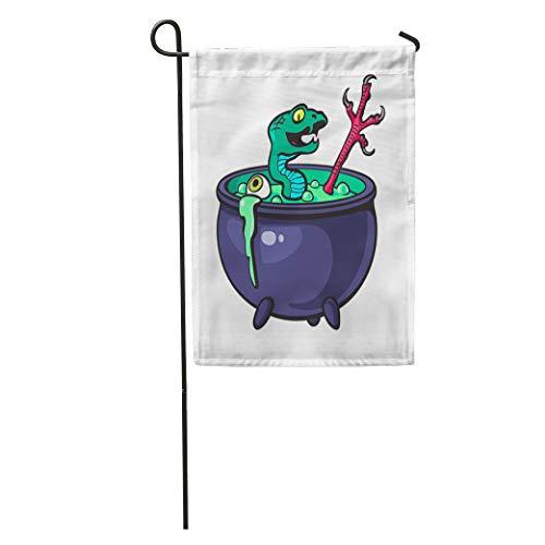Semtomn Garden Flag Halloween Witches Cauldron Green Potion Serpent Eye Bird Leg Cartoon Home Yard Decor Barnner Outdoor Stand 12x18 Inches Flag