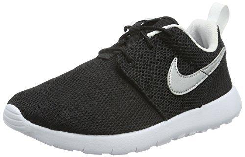 (Nike Boy's Roshe One Sneaker (PS), Black/Metallic Silver-White-White 12C)
