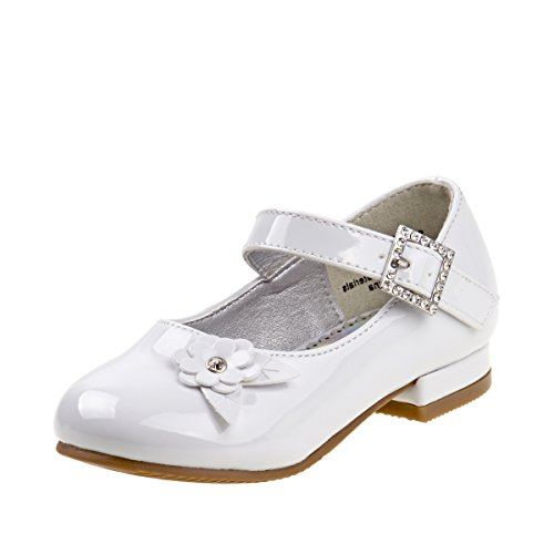 Josmo Girls Low Heel Dress Shoes with Rhinestone Buckle and Flower, White, Size 9 US Toddler' -