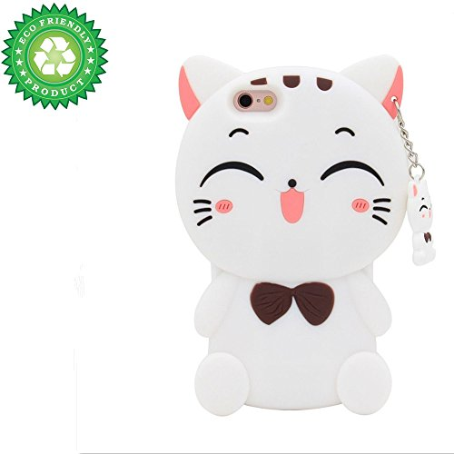 iPhone SE Case, iPhone 5C Case, iPhone 5 5S Cover, 3D Cartoon Lucky Fortune Kitty Cat Kids Girls Silicone Animals Soft Rubber Shockproof Protector Shell Skin for iPhone 5/5S/5C/SE - White Bow Tie Cat (Kitty Iphone Case 5)