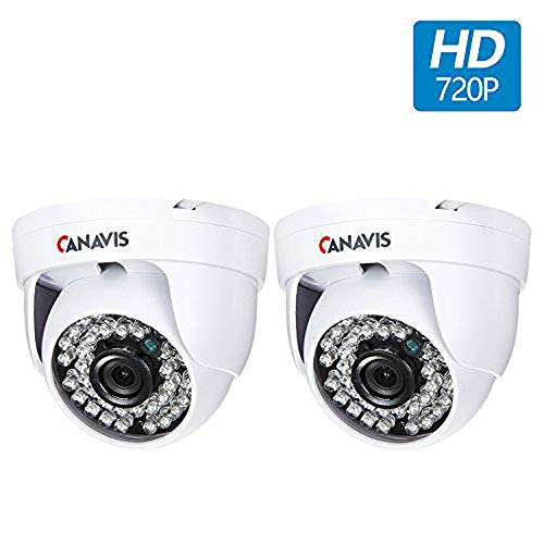 CANAVIS 2 Packs HD CCTV Security Cameras 720P Home Security Day/Night Indoor Dome Camera 1280TVL 36 IR-LEDs 3.6mm Wide Angle Lens by CANAVIS