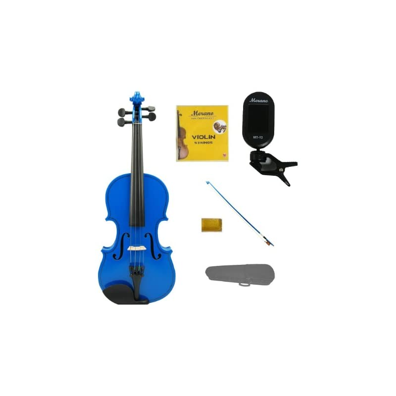 Merano 3/4 Size Blue Violin with Hard Case, Blue Stick Bow+Free Rosin+Extra Set of Strings+Merano Chrometic Clip On Tuner