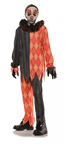 Scary Harlequin Costume (Underwraps Big Girl's Underwraps Boy's Evil Clown Costume, Large Childrens Costume, Multi, Large)