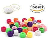 plastic beads for jewelry making - R.FLOWER 1000PCS Multicolor Bright Beads Plastic Craft Pony Beads 6x9mm for Jewelry Making Kids DIY Bracelets Necklaces