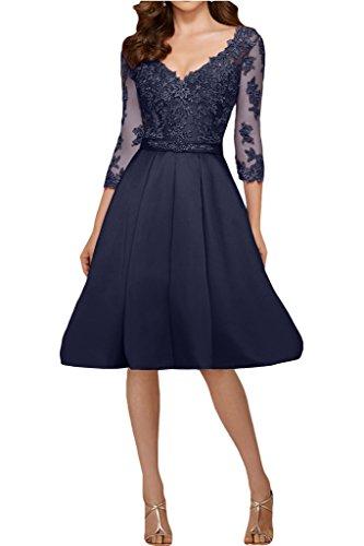 Promgirl House Damen Prinzessin Elfenbein Spitze V-Ausschnitt Abendkleider Ballkleider Lang mit Aermel Navyblau Kurz 7zXWtI