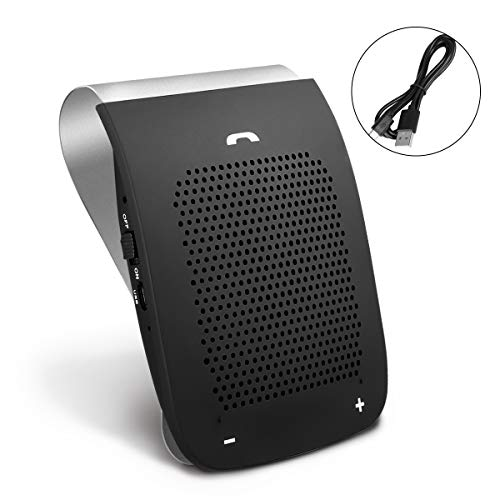 SLOPEHILL Bluetooth Hands Free Speaker for Car, Sun Visor in-Car Speakerphone 2W Powerful Speaker Clear and Smooth Sound Streaming Built-in Mic Long Working Time Easy to Set Up