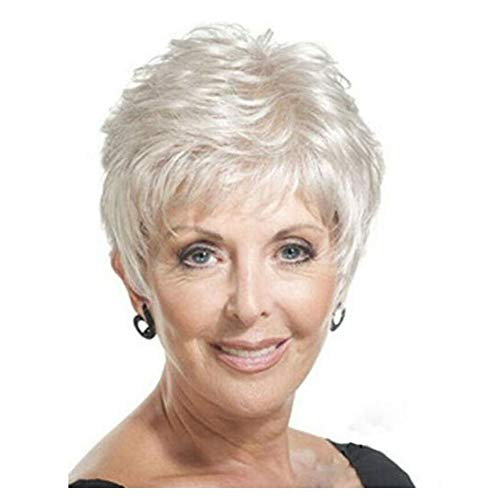 Y demand Mother Pixie Wig Short Straight Hairstyles White Wig For Old Women Wigs (White)]()