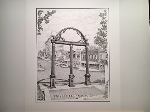 University of Georgia ''The Arch'' 11''x14'' hand-drawn pen and ink print by Campus Scenes