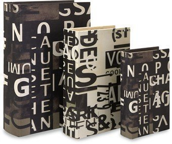 IMAX Text Collage Book Boxes, Set of 3 by Imax by Imax