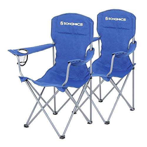 SONGMICS Set of 2 Folding Camping Chairs, Comfortable, Heavy Duty Structure, Max. Load Capacity 150 kg, with Cup Holder, Outdoor Chair