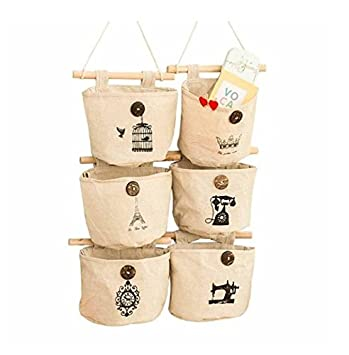 Pishmount Fabric Wall Door Closet Hanging Storage Bag Small Cotton Hanging  Pockets Set Of 3