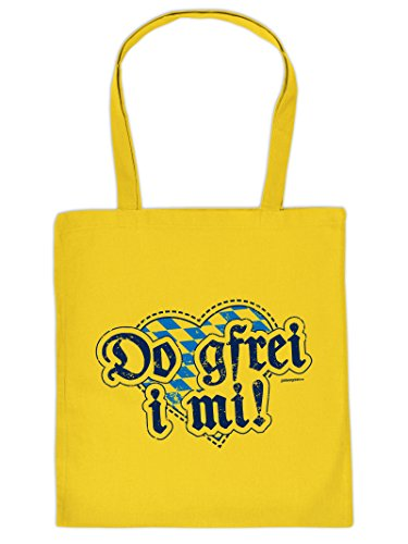 Praktische Henkeltasche mit Aufdruck: DO GFREI I MI. Diese Einkaufstasche ist eine tolle Geschenkidee.
