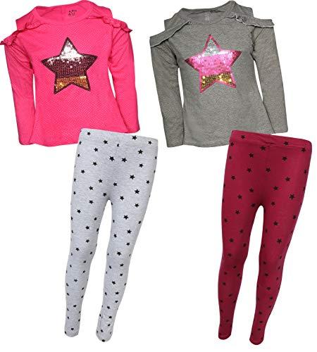 My Destiny Girls 4-Piece Fashion Top Legging Pant Set, Star, Size 4