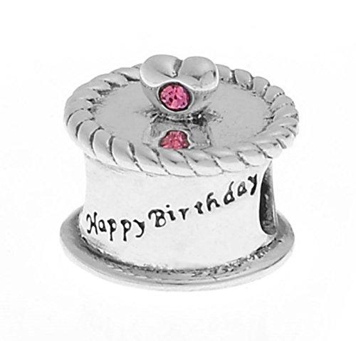 925 Sterling Silver Pink CZ 'Happy Birthday' Cake Charm Bracelets Truly Charming (Happy Birthdaycake)