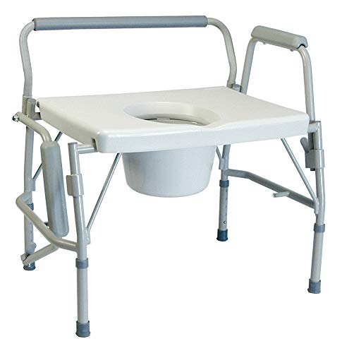 MediChoice Commode Chair, Adjusts from 19.5 in to 23.5 in, 1 in Increments, 23 Inch Seat Width, Includes Pail w/Cover + Splash Shield, 600 lb, Steel, Bariatric 2867BAR706 (Each of 1)