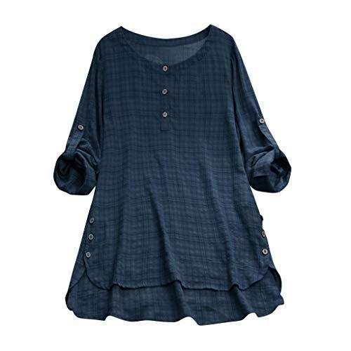 (Aniywn Women Plus Size Round Neck T-Shirt Summer Loose Short Sleeve Kaftan Casual Linen Button Tunic Blouse)