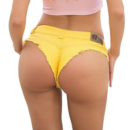 In Unita l Tinta Vita Pantaloncini Cotone Con Jeans A yellow Di Bassa wW4n6xZzqY