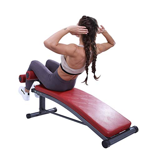 Finer Form Sit Up Bench | Reverse Crunch Handle for Ab Exercises | Decline Bench with 3 Adjustable Height Settings (Red)