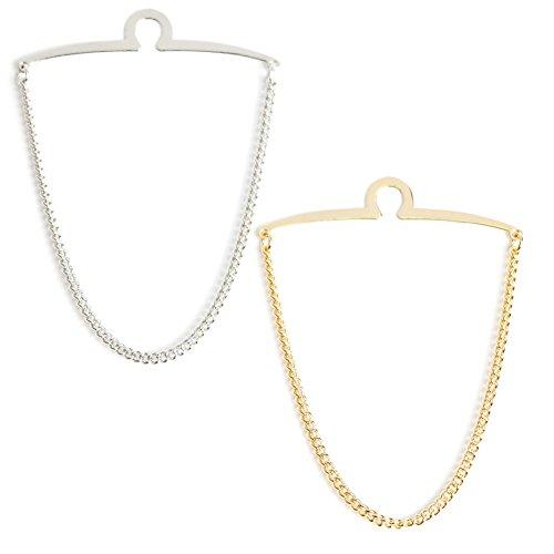 2 Pc Men's Tie Chain Gift Boxed Silverand Gold