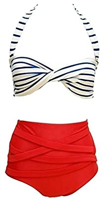 Scodi Women's Fashion Vintage High Waisted 2 Pieces Bikini Swimwear Swimsuits