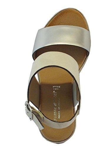 8a5d9185 Mercante di Fiori 65768 Metal Bianco Argento Sandalias de vestir de Piel  para mujer Bianco argento