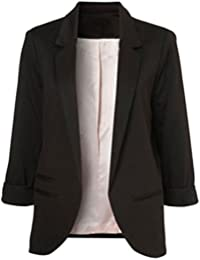 Women's Cotton Rolled Up Sleeve No-Buckle Blazer Jacket...
