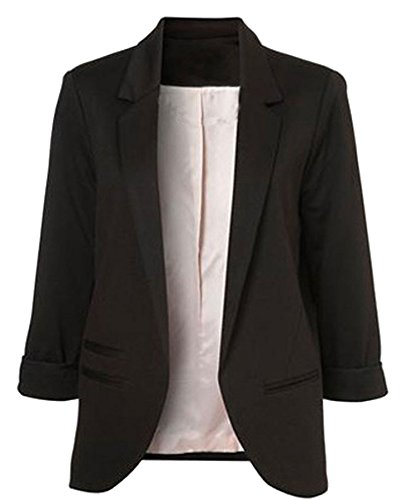 (Face N Face Womens Cotton Rolled Up Sleeve No-Buckle Blazer Jacket Suits,US M/Tag L,Black)
