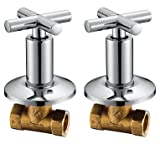Royal H&H Concealed Shut Off Valve Straight with Modern Cross Handle Water Shower Home Plumbing Commercial 1/2-Inch IPS G1/2 One Pair