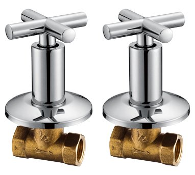 Royal H&H Concealed Shut Off Valve Straight with Modern Cross Handle Water Shower Home Plumbing Commercial 1/2-Inch IPS G1/2 One ()